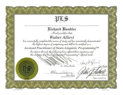 Certificato NLP Society Bandler